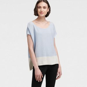DKNY Blue Colorblock Knit Sweater Cotton Linen Med